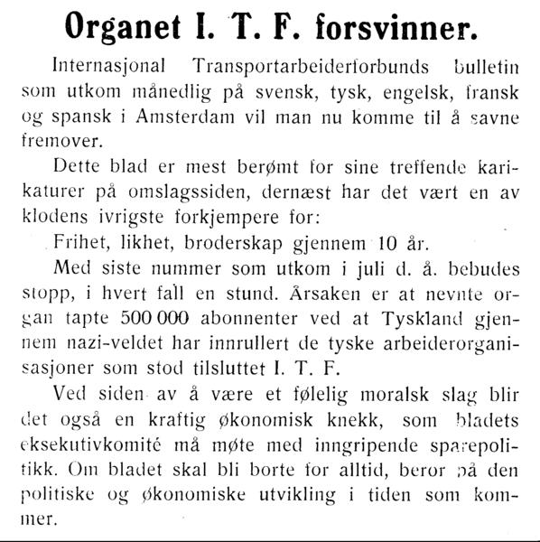 Organet I.T.F. forsvinner.