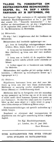 Tillegg til forskrifter om ekstraordninære redningsredskaper, etc. på skip i krigsfarvann av 30 september, 1942
