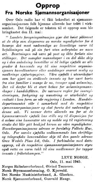 Opprop Fra Norske Sjømannsorganisasjoner