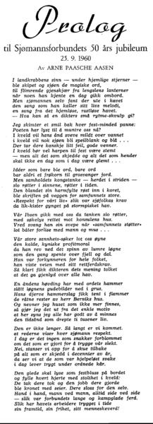 Prolog<BR> <BR> til Sjømannsforbundets 50 års jubileum<BR> 25. 9. 1960<BR>