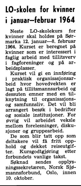 LO-skolen for kvinner i januar-februar 1964