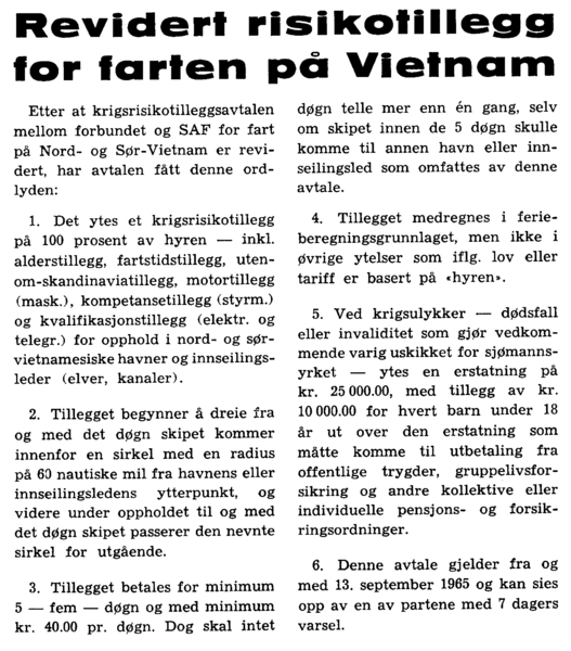 Revidert risikotillegg for farten på Vietnam