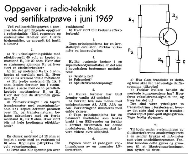 Oppgaver i radio-teknikk ved sertifikatprøve i juni 1969