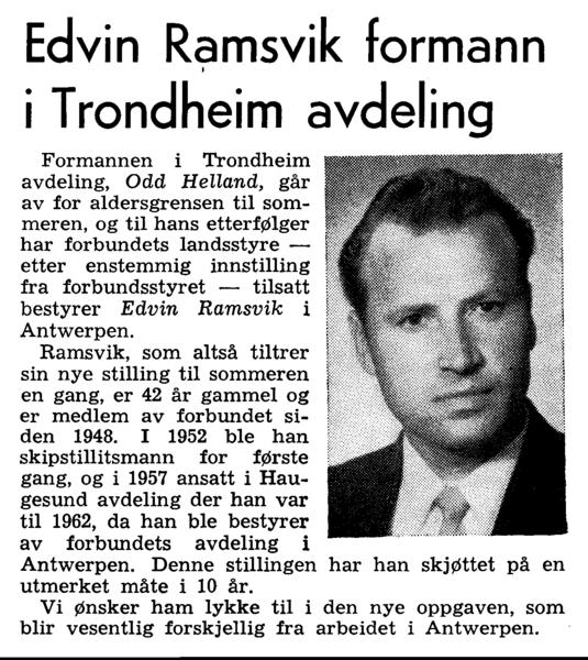Edvin Ramsvik formann i Trondheim avdeling