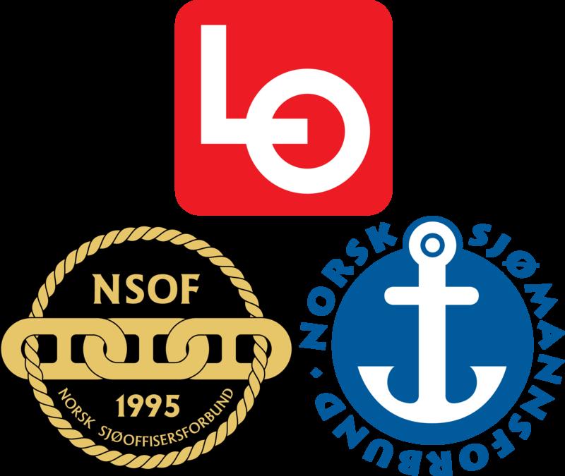 Logoene til LO, Norsk Sjømannsforbund og Norsk Sjøoffisersforbund