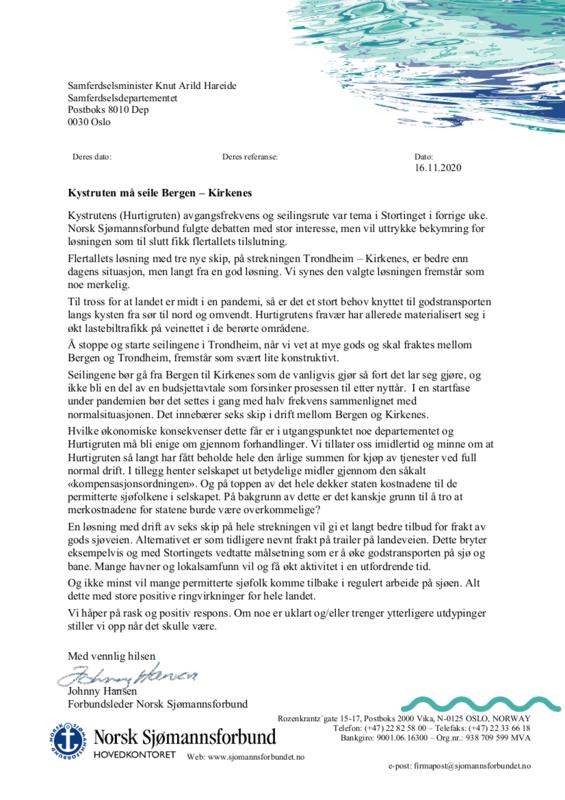 Brevet fra forbundsleder Johnny Hansen til samferdselsminister Knut Arild Hareide om Hurtigrutens seglingslengde og frekvens.