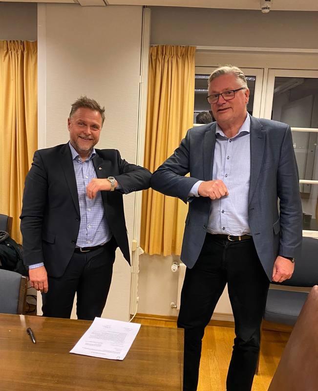 F.v.: Tor Arne Borge i Kystrederiene og Jan-Erik Lundby Norsk Sjømannsforbund