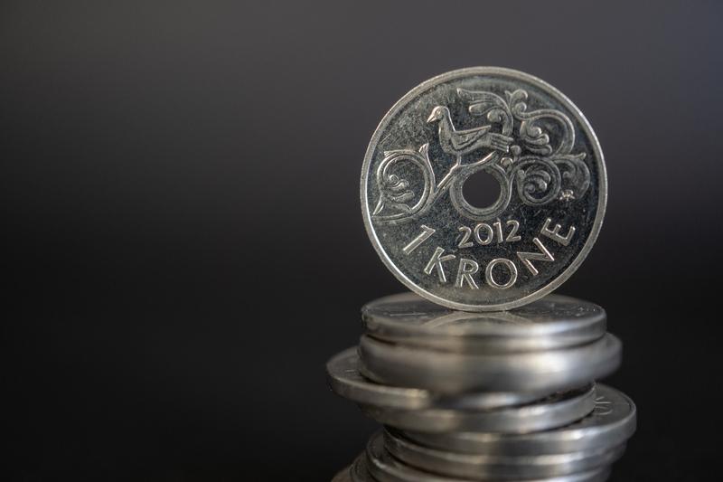 Myntstabel med kronestykker.