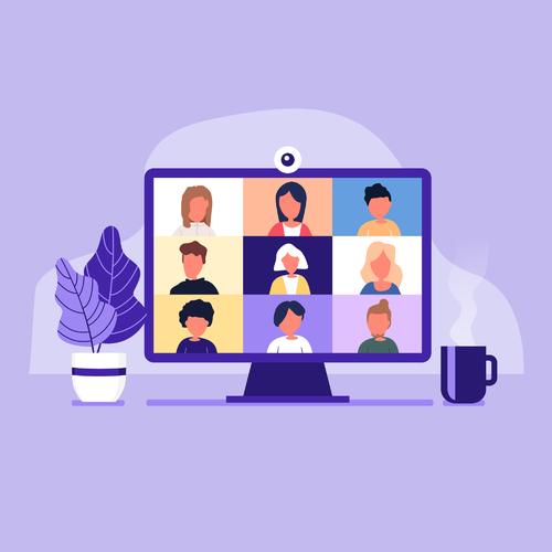Illustrasjonstegning av en skjerm med elektronisk møte på