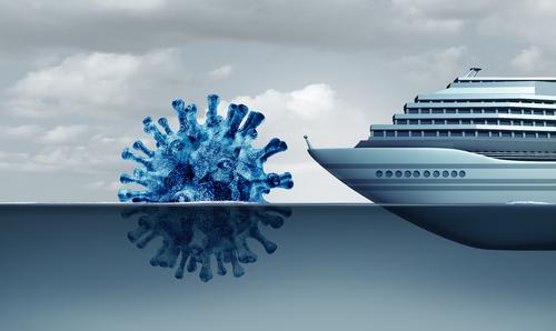 Illustrasjon av skip som hindres av et gigantisk virus