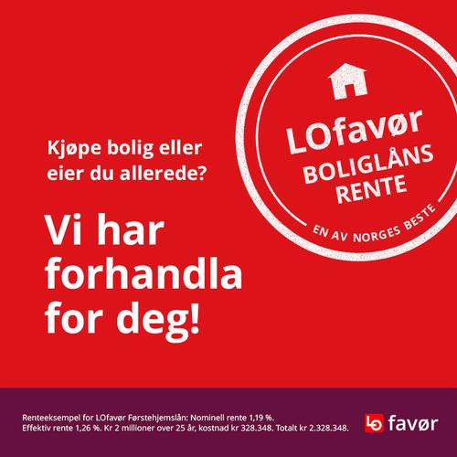 Informasjon om LOfavørs lånerenter, der LOfavør førstehjemslån-rente på 1,19 % er fremhevet