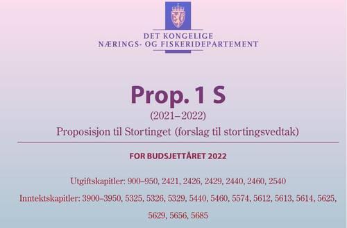 Faksimile av forsiden på forslaget til statsbudsjett 2022